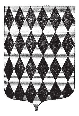 hanedan arması: Arms Elmas Coat, bağbozumu oyulmuş illüstrasyon. Larive ve Fleury - - 1895 Kelimeler ve Şeyler Sözlüğü