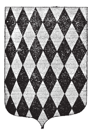 armorial: Diamond Coat of Arms, vintage engraved illustration. Dictionary of Words and Things - Larive and Fleury - 1895