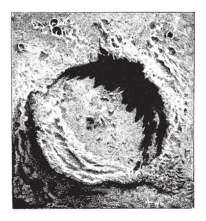 bombard: Superficie della Luna, che mostra il cratere Copernicus, vintage illustrazione inciso. Dizionario di parole e cose - Larive e Fleury - 1895
