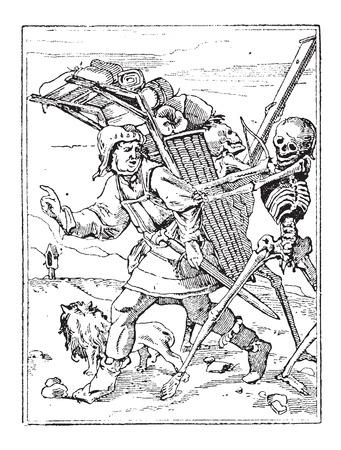 mortalidad: Danza de la Muerte, cosecha ilustraci�n grabada. Diccionario de palabras y las cosas - Larive y Fleury - 1895