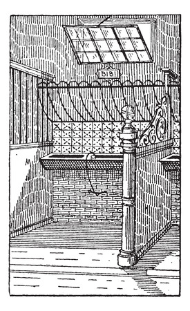 Manger, vintage engraved illustration. Dictionary of Words and Things - Larive and Fleury - 1895 Illusztráció