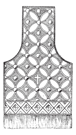 clergy: Maniple, shown with Embroidery Design and  a Cross, vintage engraved illustration. Dictionary of Words and Things - Larive and Fleury - 1895 Illustration
