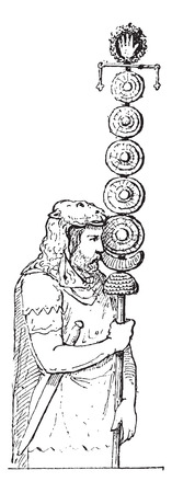 crossbar: Maniple, as depicted on a Relief in Trajans Column in Rome, Italy, holding a Standard consisting of a hand surrounded by a crown, placed on a crossbar, under which there are five small plates and a crescent, vintage engraved illustration. Dictionary of W
