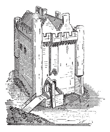 stately: Manor of Camarsac, in Gironde, France, during the 13th and 14th Century, vintage engraved illustration. Dictionary of Words and Things - Larive and Fleury - 1895