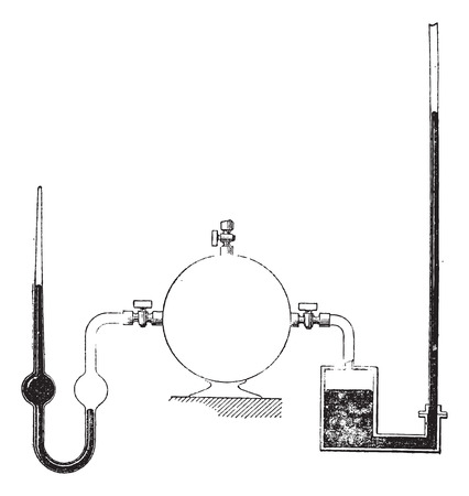 transducer: Liquid Column Manometers, showing (left) close-end type and (right) open-end type, vintage engraved illustration. Dictionary of Words and Things - Larive and Fleury - 1895