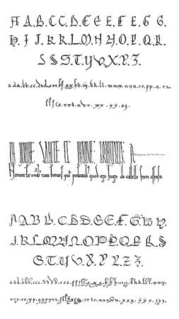 cuneiform: Manuscript, examples, vintage engraved illustration. Dictionary of Words and Things - Larive and Fleury - 1895