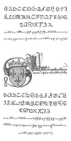 Manuscrito, ejemplos, con la ilustración, vintage grabado ilustración. Diccionario de palabras y las cosas - Larive y Fleury - 1895 Foto de archivo - 35362025
