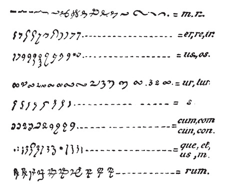 cuneiform: Manuscript, Table of Abbreviations Used in Medieval Manuscripts, vintage engraved illustration. Dictionary of Words and Things - Larive and Fleury - 1895