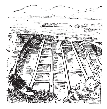 Saltmarshes, vintage engraved illustration. Dictionary of Words and Things - Larive and Fleury - 1895