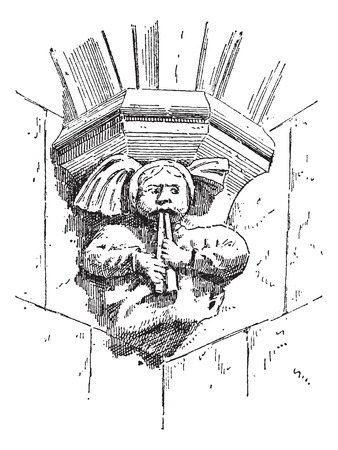 theological: Grotesque Figure, at the St. Sergius Orthodox Theological Institute, in Paris, France, during the 15th Century, vintage engraved illustration. Dictionary of Words and Things - Larive and Fleury - 1895 Illustration