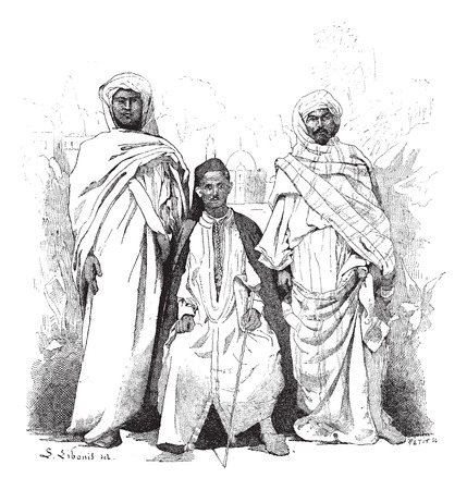 berber: Morrocans, various Ethnic Groups, vintage engraved illustration. Dictionary of Words and Things - Larive and Fleury - 1895