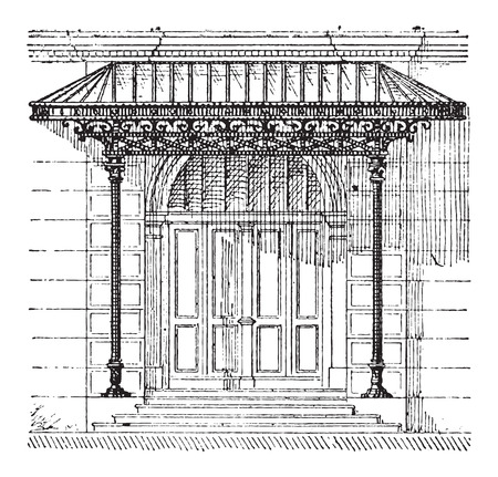 stanchion: Canopy, showing a glass canopy protecting a door, vintage engraved illustration. Dictionary of Words and Things - Larive and Fleury - 1895 Illustration