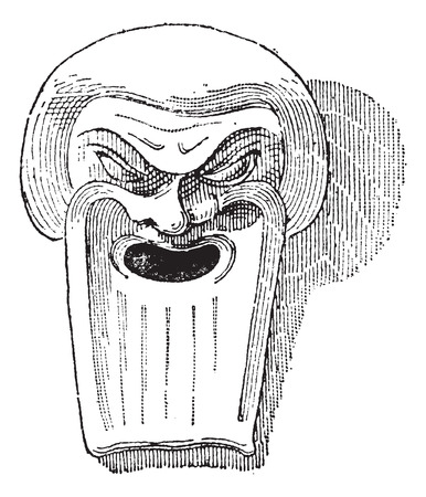 clay mask: Greek Clay Mask, vintage engraved illustration. Dictionary of Words and Things - Larive and Fleury - 1895