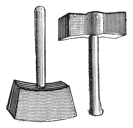 big break: Lump Hammer, vintage engraved illustration. Dictionary of Words and Things - Larive and Fleury - 1895