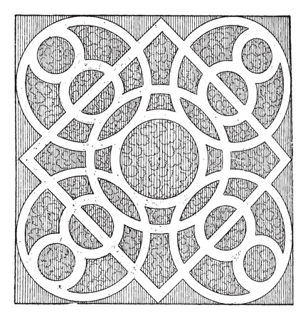 cleanliness: Meander, Labyrinth Pattern of the Garden of Cleanliness, by Androuet du Cerceau, vintage engraved illustration. Dictionary of Words and Things - Larive and Fleury - 1895