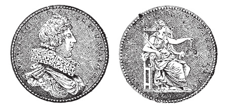 sculpted: Medal Showing King Louis XIII of France, by Guillaume Dupre, vintage engraved illustration. Dictionary of Words and Things - Larive and Fleury - 1895 Illustration