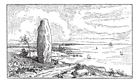ideological: Menhir, in Morbihan, Brittany, France, vintage engraved illustration. Dictionary of Words and Things - Larive and Fleury - 1895