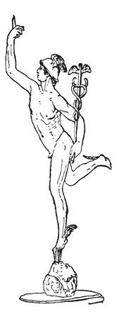 Mercury, graviert Weinleseillustration. Wörterbuch der Wörter und Dinge - Larive und Fleury - 1895 Standard-Bild - 35362134