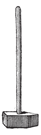 heavy construction: Straight-peen Sledgehammer, vintage engraved illustration. Dictionary of Words and Things - Larive and Fleury - 1895