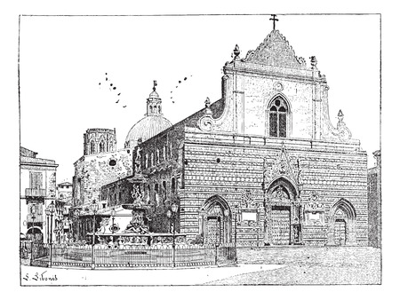 Cathedral of Messina, in Sicily, Italy, vintage engraved illustration. Dictionary of Words and Things - Larive and Fleury - 1895