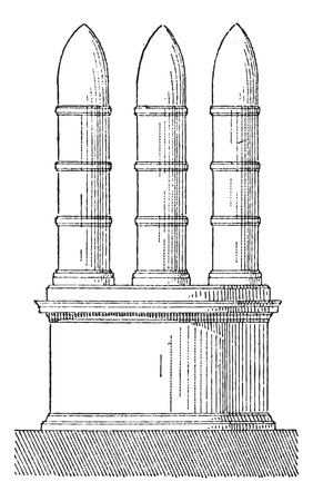 Meta, in Architecture, vintage engraved illustration. Dictionary of Words and Things - Larive and Fleury - 1895 Çizim