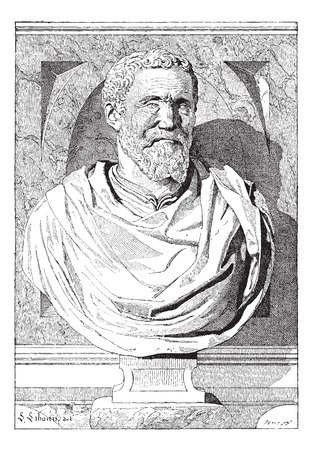 bust: Bust of Michaelangelo, by Battista Lorenzi, at the Tomb of Michelangelo, in Florence, Italy, vintage engraved illustration. Dictionary of Words and Things - Larive and Fleury - 1895