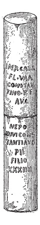 reference point: Milestone, vintage engraved illustration. Dictionary of Words and Things - Larive and Fleury - 1895 Illustration