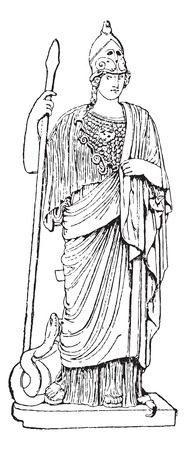 Minerva, Statua, al Museo Vaticano, Città del Vaticano, vintage illustrazione inciso. Dizionario di parole e cose - Larive e Fleury - 1895