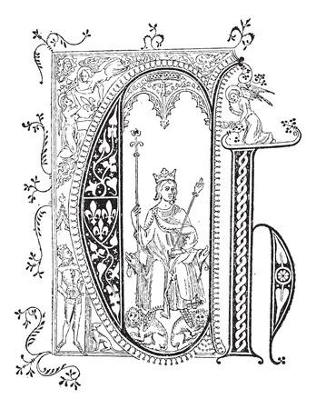 oorkonde: Miniatuur, op een Charter, in 1364, bij het Hotel Saint Paul, koninklijke residentie van koning Karel V van Frankrijk, vintage gegraveerde illustratie. Woordenboek van woorden en dingen - Larive en Fleury - 1895