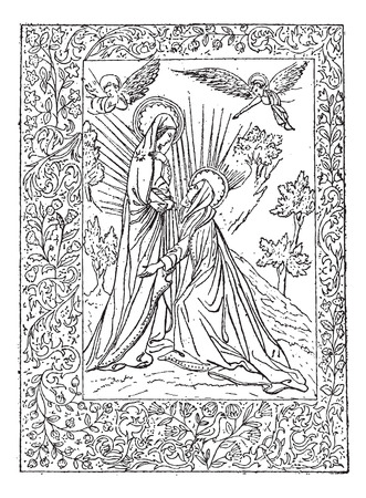 Miniature, a 16th Century Book of the Visitation, at the National Library in Paris, France, vintage engraved illustration. Dictionary of Words and Things - Larive and Fleury - 1895