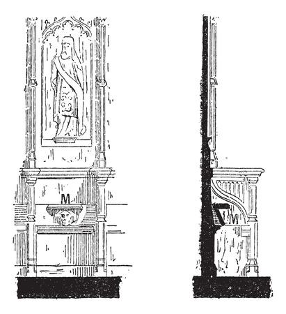 Misericord, 전면보기 (왼쪽)와 사이드 뷰 (오른쪽), 빈티지 새겨진 그림. Larive 및 플 뢰리 - - 1,895 단어와 사물의 사전