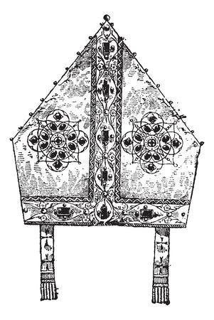주교의 주교관, 빈티지 새겨진 그림. Larive 및 플러 - - 1,895 단어와 사물의 사전