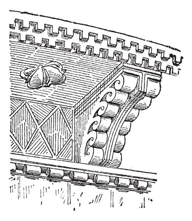 11th: Corbell, in Medieval Architecture, 11th Century Cornice of the Church of Our Lady of the Harbor, in Clermont-Ferrand, Auvergne, France, vintage engraved illustration. Dictionary of Words and Things - Larive and Fleury - 1895