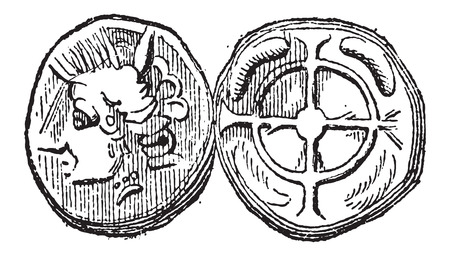gallic: Ancient Celtic Drachma Coin, showing Head (front) and Cross (back), vintage engraved illustration. Dictionary of Words and Things - Larive and Fleury - 1895 Illustration