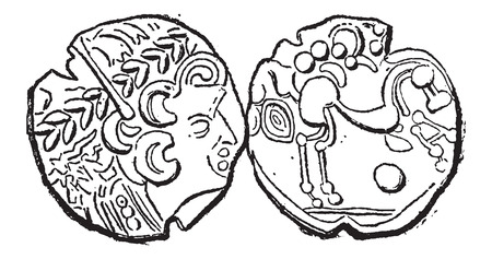 valuation: Ancient Parisii Celtic Gold Coin, showing Head (front) and Belgian Horse (back), vintage engraved illustration. Dictionary of Words and Things - Larive and Fleury - 1895 Illustration