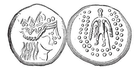 monedas antiguas: Antiguo Celta Tetradrachma moneda de plata, mostrando la parte delantera y trasera, añada una ilustración grabada. Diccionario de palabras y las cosas - Larive y Fleury - 1895