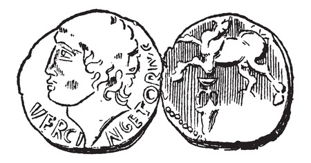 gallic: Ancient Celtic Gold Coin, showing Head of King Vercingetorix (front) and Horse (back), vintage engraved illustration. Dictionary of Words and Things - Larive and Fleury - 1895