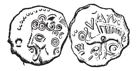 minted: Ancient Celtic Coin of Tullum Leucorum, showing front and back, vintage engraved illustration. Dictionary of Words and Things - Larive and Fleury - 1895