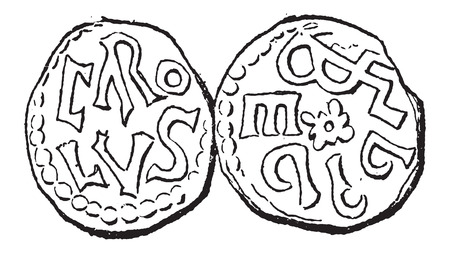 dynasty: Coin Currency, during the Carolingian Dynasty, vintage engraved illustration. Dictionary of Words and Things - Larive and Fleury - 1895