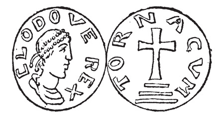dynasty: Coin Currency, during the Merovingian Dynasty, vintage engraved illustration. Dictionary of Words and Things - Larive and Fleury - 1895