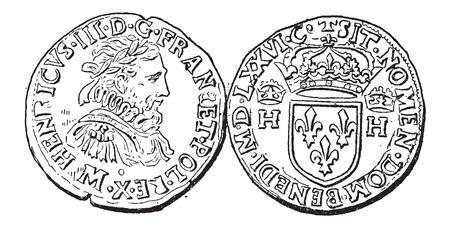 monedas antiguas: Moneda Moneda, durante el reinado de Enrique III de Francia, cosecha ilustración grabada. Diccionario de palabras y las cosas - Larive y Fleury - 1895