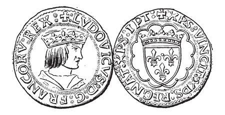 monedas antiguas: Moneda Moneda, durante el gobierno de Luis XII de Francia, cosecha ilustración grabada. Diccionario de palabras y las cosas - Larive y Fleury - 1895