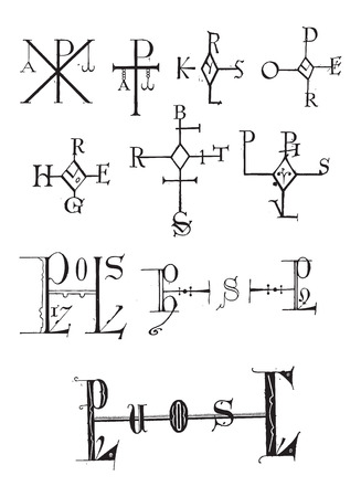 Monogram, showing several examples, vintage engraved illustration. Dictionary of Words and Things - Larive and Fleury - 1895 Illustration