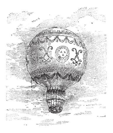 Montgolfier 뜨거운 공기 풍선, 빈티지 새겨진 된 그림. 단어와 사물 사전 - Larive and Fleury - 1895