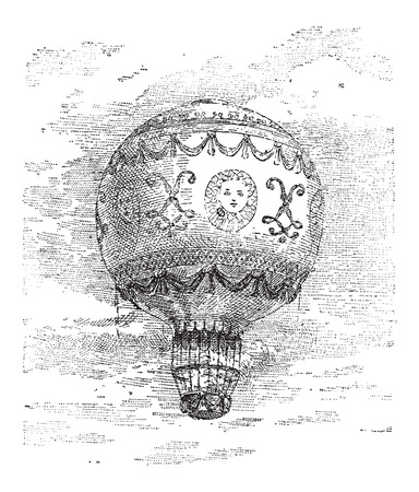 manned: Montgolfier Hot Air Balloon, vintage engraved illustration. Dictionary of Words and Things - Larive and Fleury - 1895