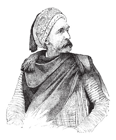 iberian: Moor, portrait, vintage engraved illustration. Dictionary of Words and Things - Larive and Fleury - 1895 Illustration