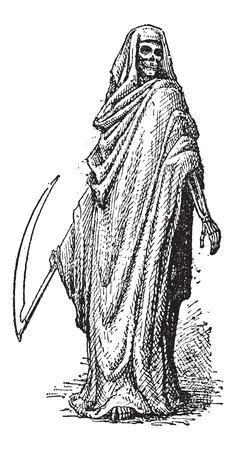 fallecimiento: La muerte o la Parca, que se muestra con una guada�a y vistieron de Negro con una capilla, cosecha ilustraci�n grabada. Diccionario de palabras y las cosas - Larive y Fleury - 1895