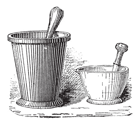 grind: Mortar and Pestle, shown in two sizes, vintage engraved illustration. Dictionary of Words and Things - Larive and Fleury - 1895