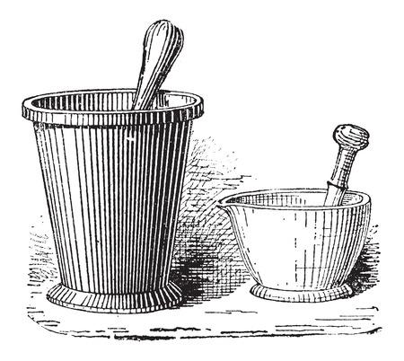 mortero: Mortero y maja, que se muestra en dos tamaños, añada una ilustración grabada. Diccionario de palabras y las cosas - Larive y Fleury - 1895 Vectores