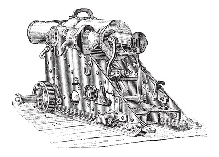 Howitzer Cannon, vintage engraved illustration. Dictionary of Words and Things - Larive and Fleury - 1895 向量圖像